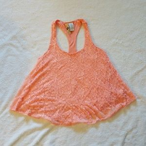 Mimi Chica (Nordstrom) Peach Lace Racer back tank